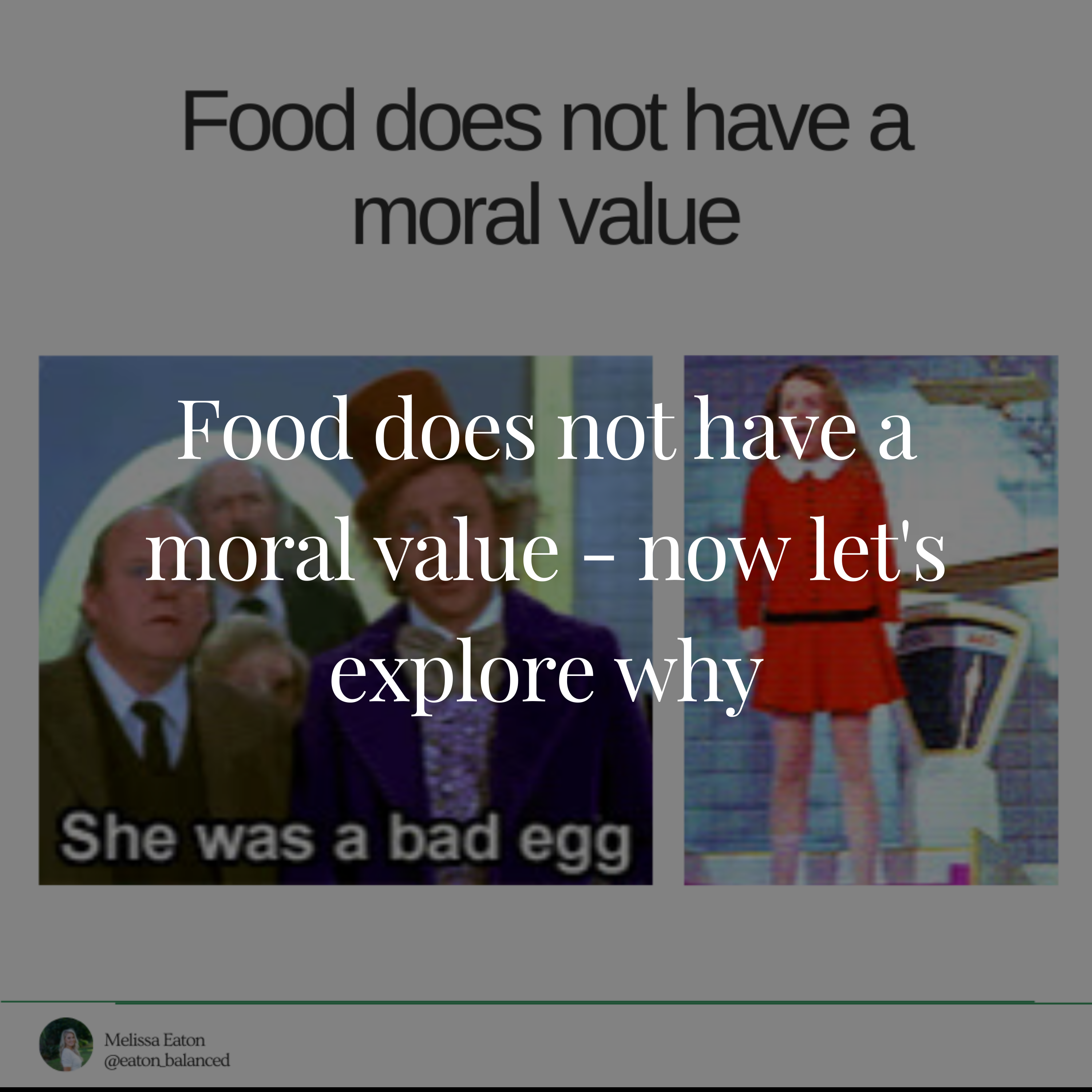 Food does not have a moral value - now let's explore why
